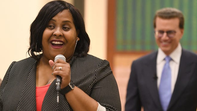 """At her surprise Milken Educator Award notification, Principal Devon Willis-Jones thanks the Jeanerette Elementary community: """"It's really the teachers, the students and the community who make me look good,"""" she says. Talking to the students, she adds a promise: """"We're going to party!"""" Lowell Milken, chairman and co-founder of the Milken Family Foundation, looks on proudly."""