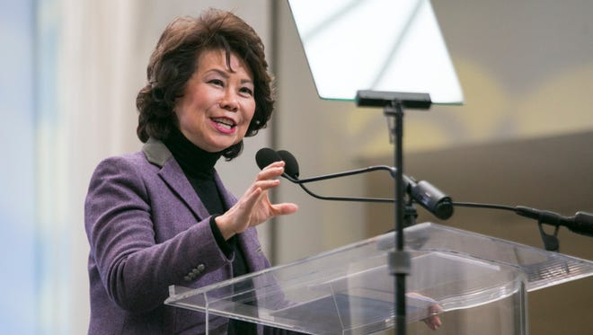 Transportation Secretary Elaine Chao speaks at the 2018 North American International Auto Show at Cobo Center in Detroit on Jan. 14, 2018.