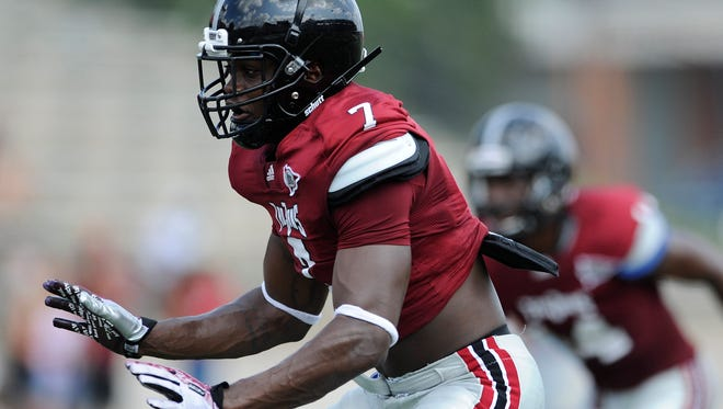 T.J. Fuller during the Troy University football scrimmage in Troy, Ala. on Saturday August 9, 2014.