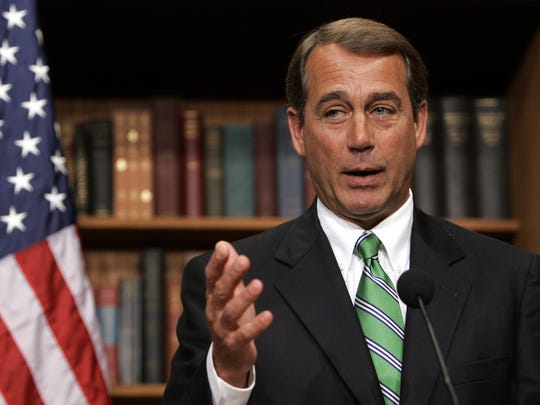 House Majority Leader John Boehner of Ohio gestures