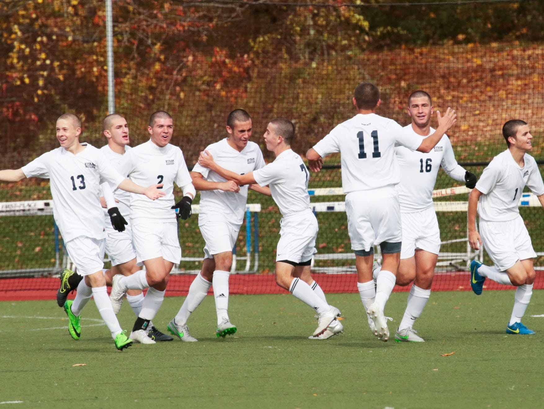 Bryrum Hills celebrate after scoring against Tappan Zee during the first half at Byrum Hills High School in Armonk on Oct. 29, 2015.