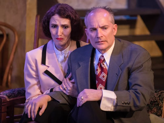 "Mrs. Van Daan (Rachel Markillie) and Mr. Van Daan (Troy Randall-Kilpatrick) in ""The Diary of Anne Frank"" at What A Do Theatre."