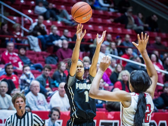 Purdue's Ashley Morrissette shoots past Ball State's defense during their game at Worthen Arena Thursday, Dec. 8, 2016.
