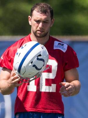 Andrew Luck practices during organized team activities at the Colts Complex, Indianapolis, Wednesday, May 23, 2018. Luck is back at practice after rehabbing a shoulder injury in the off season.
