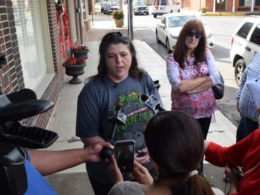 Jeremy Mardis' grandmothers, Cathy Mardis (left) and Samantha Few, address the media Thursday in Marksville. Cathy Mardis said she wants the body cam video of her 6-year-old grandson's fatal shooting released so the public knows what happened to him.
