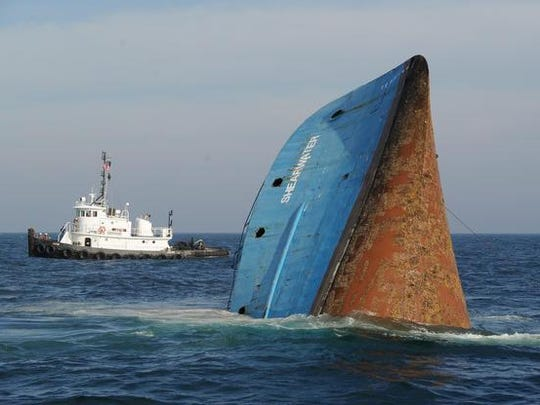 DECEMBER: The Shearwater sinks to the bottom of the Atlantic Ocean as part of the state's artificial reef program. Delaware's artificial reef network also includes more than 1,000 sunken New York City subway cars, tugboats, smaller fishing boats and old, decommissioned military vehicles.
