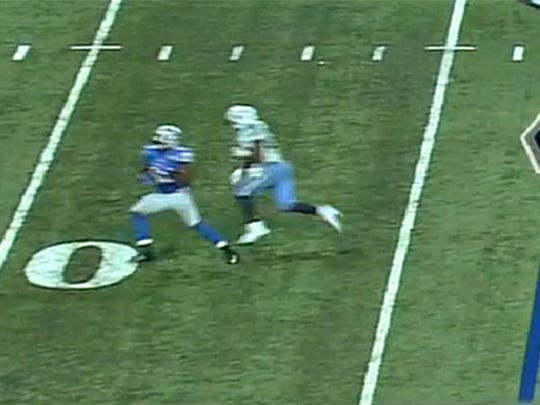 Lions linebacker Thurston Armbrister gets turned around in coverage, leading to a big gain for running back DeMarco Murray.