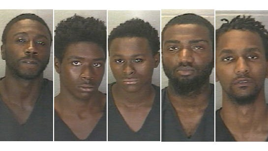 Five men are accused of shoplifting two TVs in a brazen snatch and run theft at Walmart on the east side. They are: Maurice Terrell Jackson, 31, Chicago; Javaughn Knight, 19, Lafayette; Dontrell Dawayne McGee, 18, homeless; Joriah Deshaun-Jamal Rufus, 20, homeless; Atlas Lee Davis, 23, Lafayette.