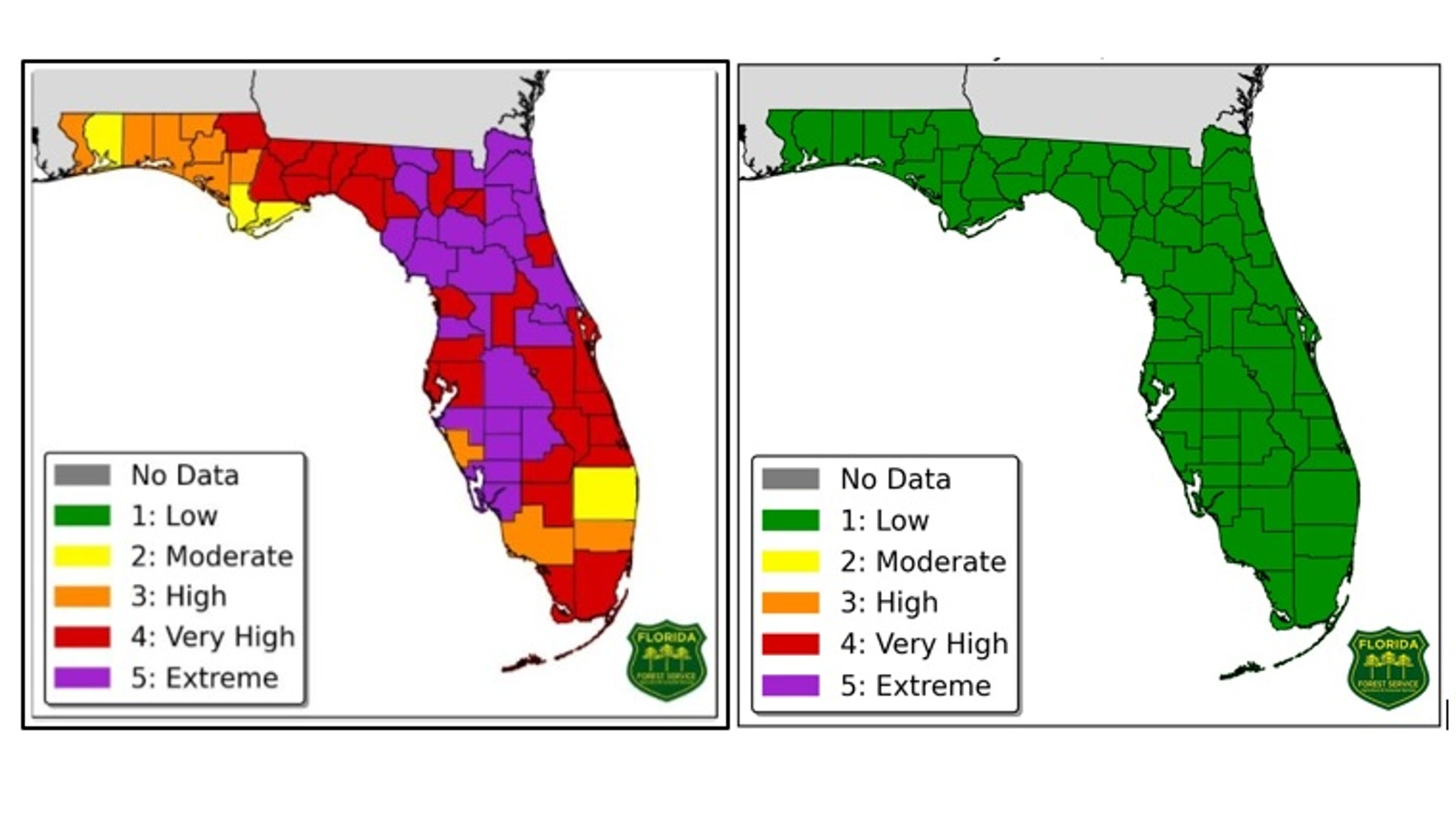 Florida Fire Map 2017.Florida S Fire Danger Map It S All Green Now Thanks To Heavy Rainfall