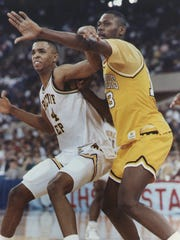 Alan Henderson of Brebeuf  Jesuit  (left) battled Gary Roosevelt's Glenn Robinson in the 1991 state championship game won by Roosevelt. Robinson was IndyStar Mr. Basketball, Henderson  second.