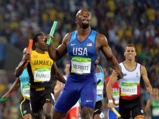LaShawn Merritt anchors the USA to victory in the 4x400 relay.