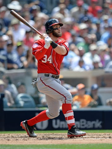 Nationals outfielder Bryce Harper led the National