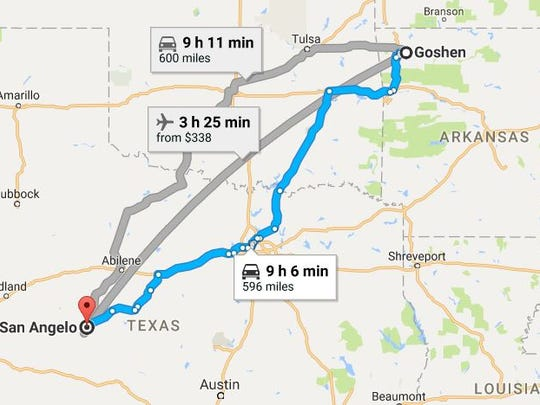 Google Maps displays a few routes between Goshen, Arkansas and San Angelo, Texas.