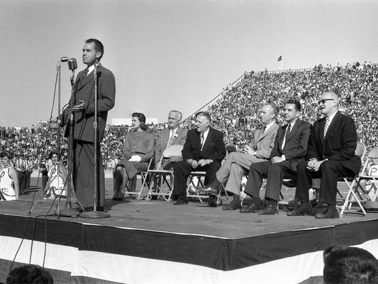 Vice President Richard Nixon dedicates City Stadium (now Lambeau Field) in 1957.