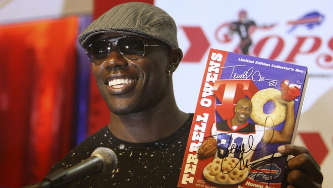 In 2009, Bills receiver Terrell Owens unveiled his new cereal at Tops Friendly Market in Perinton. The man made headlines everywhere.