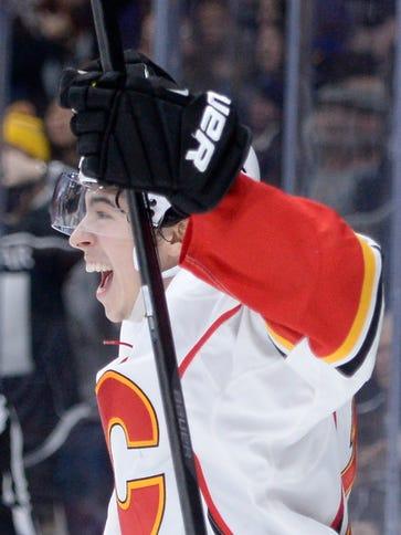 Calgary Flames rookie Johnny Gaudreau celebrates his