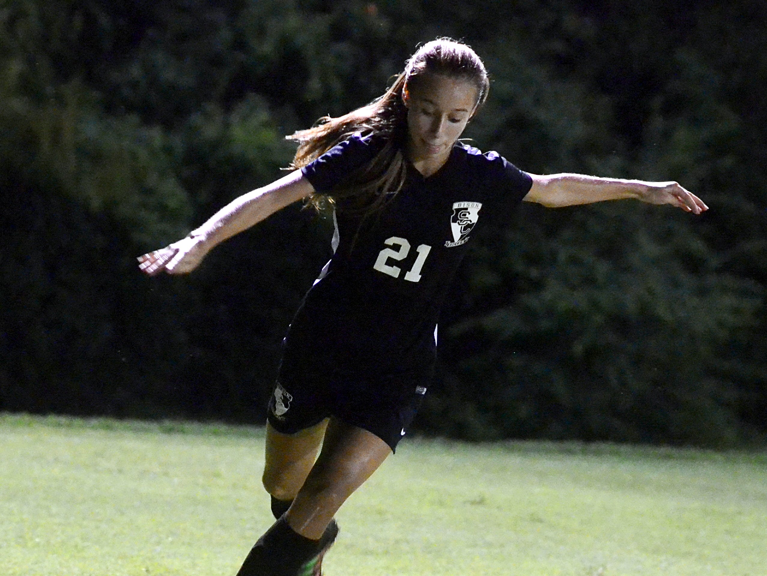 Station Camp High sophomore Faith Brown sends a cross into the box during second-half action. Brown scored a goal in the Lady Bison's 5-0 victory on Tuesday.