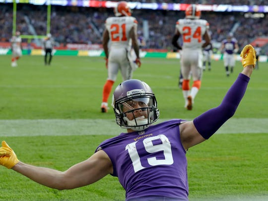 Minnesota Vikings wide receiver Adam Thielen (19) celebrates