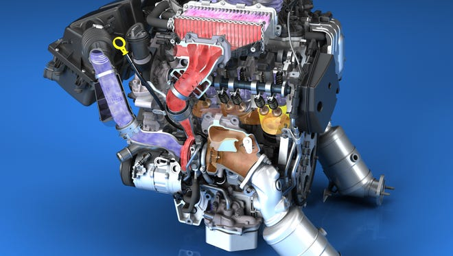 The all-new 3.0-liter twin turbo engine for the 2016 Cadillac CT6 is the only six-cylinder engine to combine turbocharging with cylinder deactivation and stop/start technologies to conserve fuel.