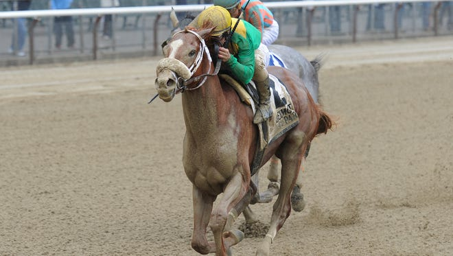 Madefromlucky won Saturday' Peter Pan Stakes at Belmont Park.