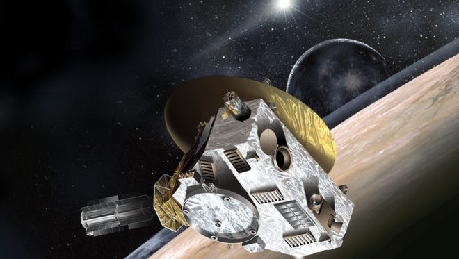 Artist's concept of the New Horizons spacecraft during its planned encounter with Pluto and its moon, Charon.