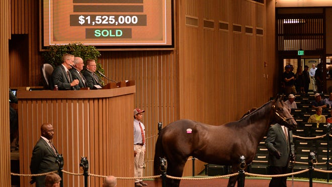 Hip 277, a roan son of the WinStar Farm stallion Distorted Humor and breeder Barbara Banke's mare Forest Music, led Tuesday's sales action at Keeneland with a bid of $1.525 million by Three Chimneys chairman Goncalo Torrealba.