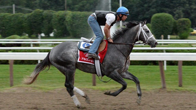 Frosted, shown training at Saratoga for what proved a third-place finish in the Travers Stakes, is the 5-2 favorite for Saturday's Pennsylvania Derby.