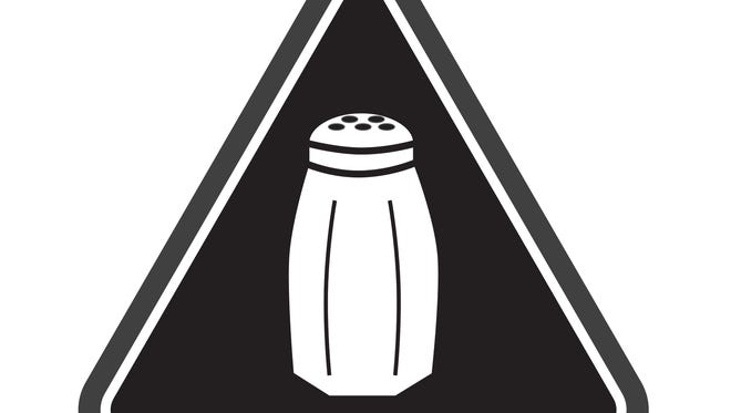 A graphic that will soon be warning NYC consumers of high salt content.