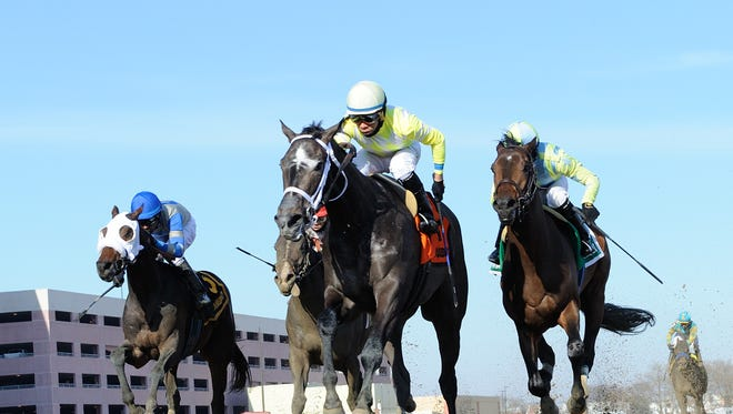 Sunny Ridge, center, won last Saturday's Withers Stakes but may not be a Derby contender.