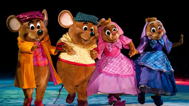 "Cinderella's mice friends strap on their skates for Disney on Ice's ""Dare to Dream."""