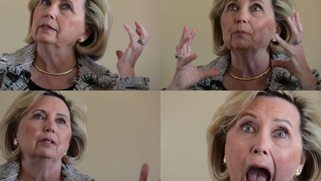 Teresa Barnwell, of Palm Desert, has been doing Hillary Clinton impersonations since 1993. Photo taken at her home on Wednesday March 30, 2016.