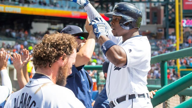 Justin Upton of the Detroit Tigers celebrates hitting a three-run home run in the third inning against the Boston Red Sox at Comerica Park on Aug. 21, 2016 in Detroit, Michigan.