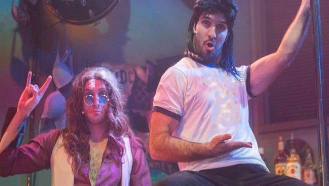 """Tim Rinehart and Patrick Joyce in """"Rock of Ages"""" at the Eagle Theatre."""