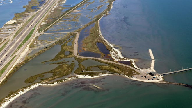 Over the past 50 years, the shoreline has retreated about 500 feet and erosion has converted about 19 acres of marsh and lagoon to ope bay.