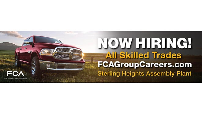Fiat Chrysler Automobiles put up billboards in late November 2017 in the Detroit area to fill skilled trades, hourly UAW jobs at its plants, including specific opportunities at the Sterling Heights Assembly where FCA is launching the Ram 1500.