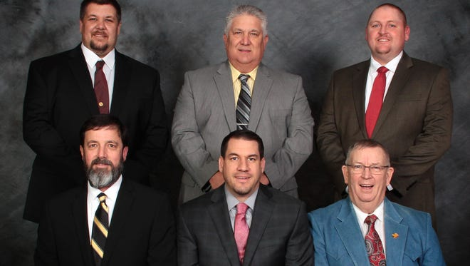 Members of the Flippin School Board are: (first row, from left)Kelvin Hudson, Superintendent; Terry Chatelain; Curt Bryant, Secretary; (second row) Brent Mitchell, Vice-President; Roger Leonard; and Bryan Benedict, President.