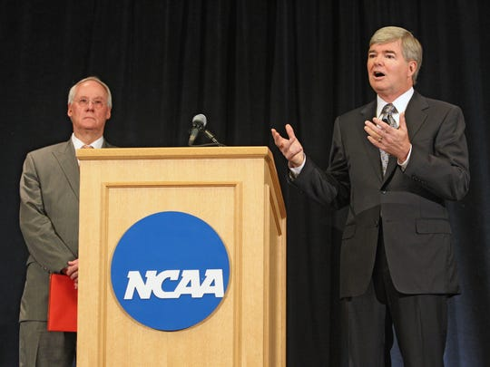 FILE - NCAA President Mark Emmert (right) and Chair of the NCAA Executive Committee Ed Ray (left).