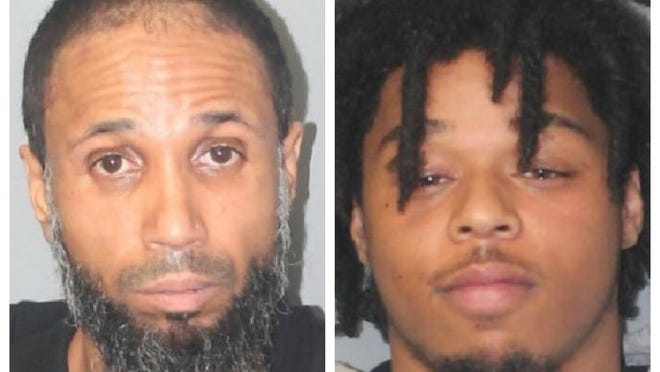 From left, Keeneu Barbosa, 45, and Joao Gomes-Pires, 20, both of Brockton, were arrested in Brockton and charged with illegal possession of ammunition, Monday, Oct. 19, 2020.