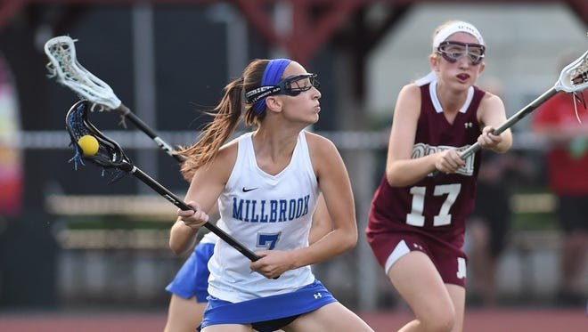 In this file photo, Millbrook High School's Kaitlyn Daly scores her team's second goal during the 2016 Section 9 Class C final against James I. O'Neill at Dietz Stadium in Kingston.