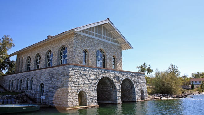 The boathouse and Viking Hall greet visitors to Rock Island State Park north of Door County. The building was constructed using limestone from the island in 1928.