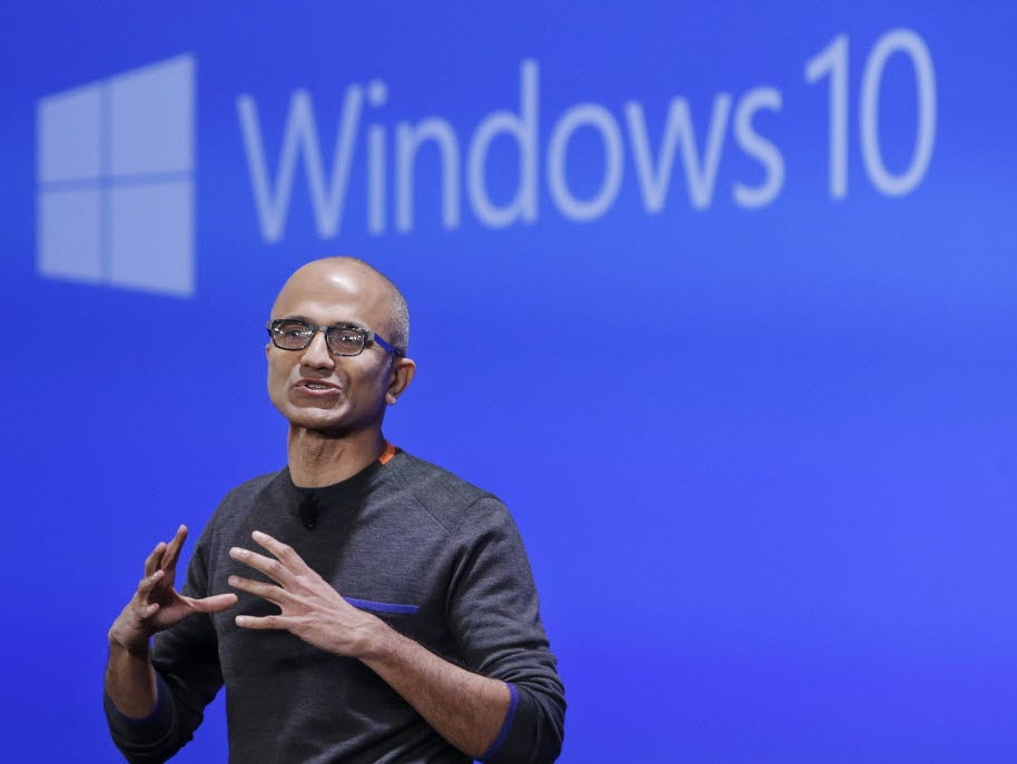 In this Jan. 21, 2015 file photo, Microsoft CEO Satya Nadella speaks at an event demonstrating the new features of Windows 10 at the company's headquarters in Redmond, Wash.