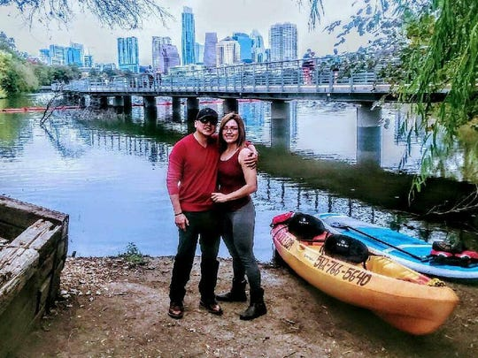 Angie Ochoa, right, stands by her fiance, Border Patrol Agent Rogelio Martinez, who was killed while on duty Nov. 18 near Interstate 10 east of Van Horn.