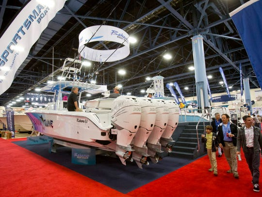 Four Mercury Marine 300 hp Verado engines power this Bahama Boat Works boat shown at the Miami Boat Show in 2015. Fond du Lac-based Mercury Marine is one of the world's largest manufacturers of outboard engines.