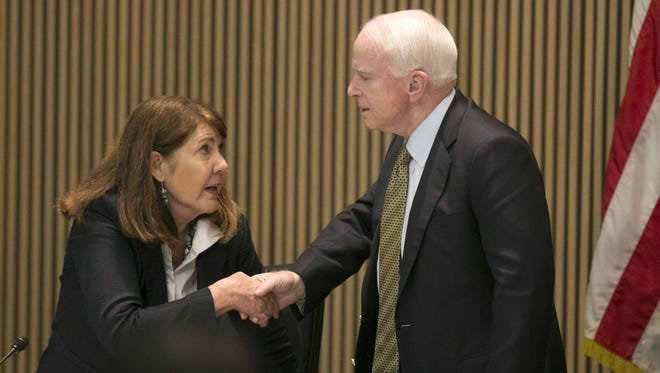 Sen. John McCain, R-Ariz., who is seeking a sixth Senate term, is leading U.S. Rep. Ann Kirkpatrick, a three-term congresswoman from Flagstaff, 51.5 percent to 40 percent, with 8.5 percent preferring someone else.