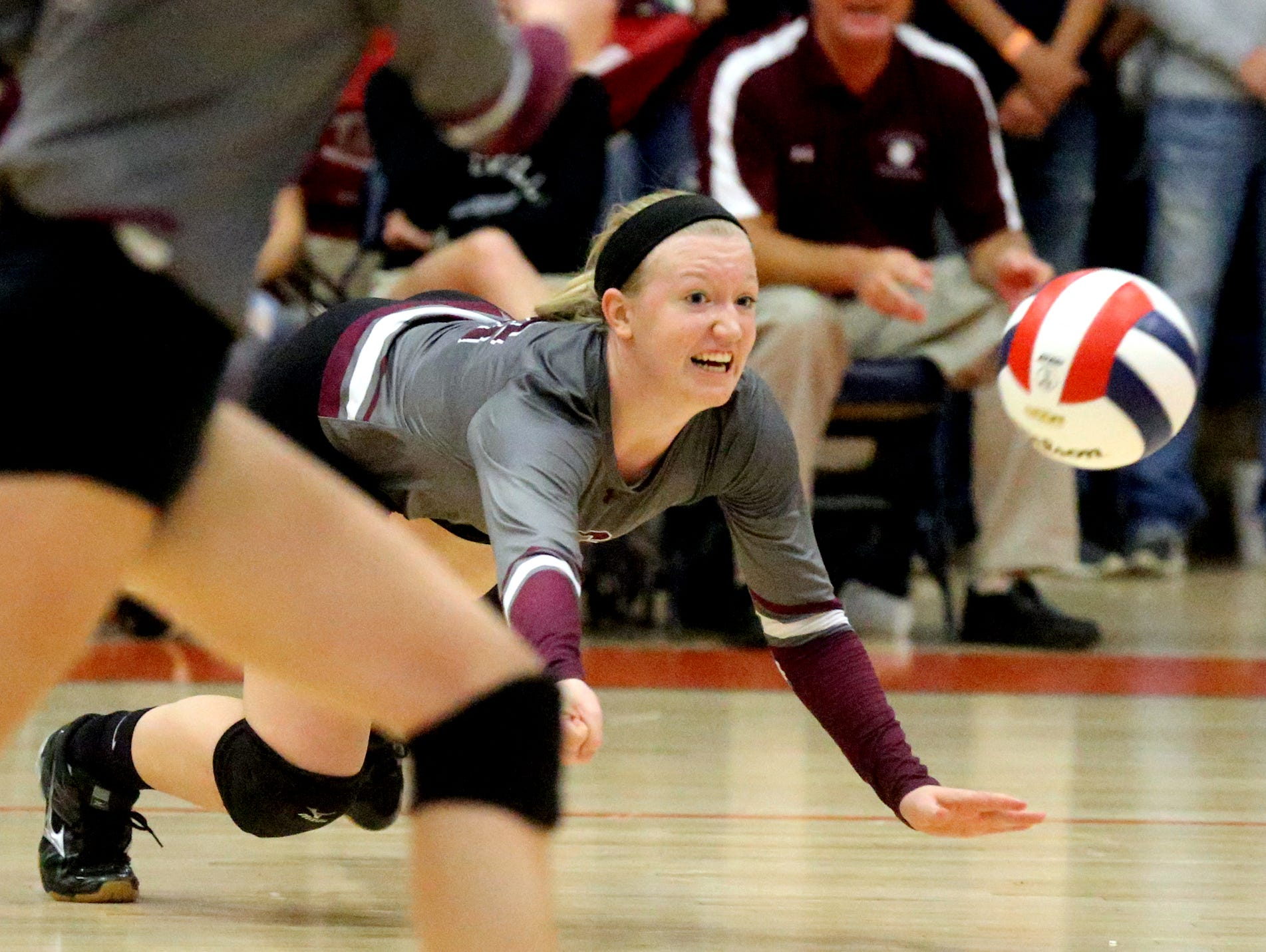 Eagleville's Kristin Barnes dives for a ball during the first round of the TSSAA Class A state volleyball tournament against Jackson County, on Wednesday at Blackman.