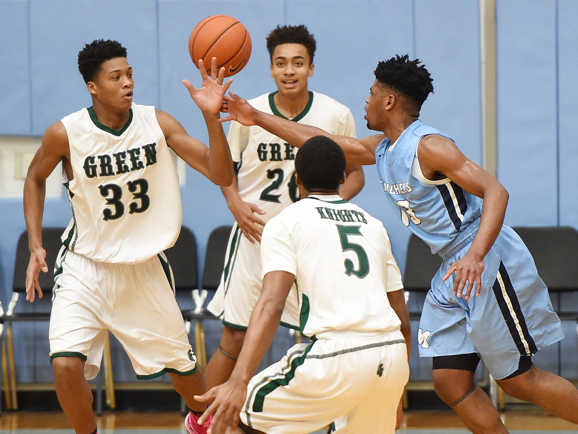 Mount Pleasant HS (white) defeated St. Michael's College School from Toronto, Ontario in the opening game on Thursday December 29th at the Slam Dunk to the Beach, held at Cape Henlopen HS near Lewes.