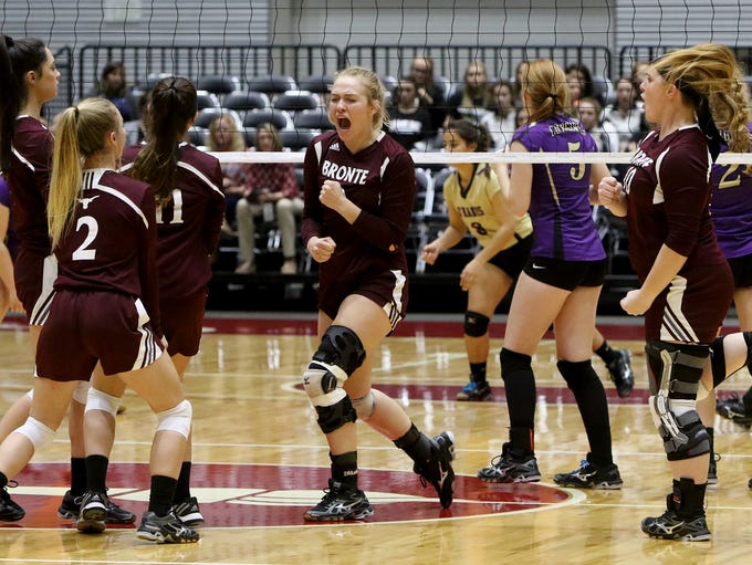 Bronte celebrates winning a point against D'Hanis Wednesday,