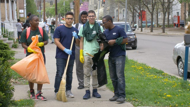 Binghamton High School students and the Promise Zone cleaned up the neighborhood on May 2.