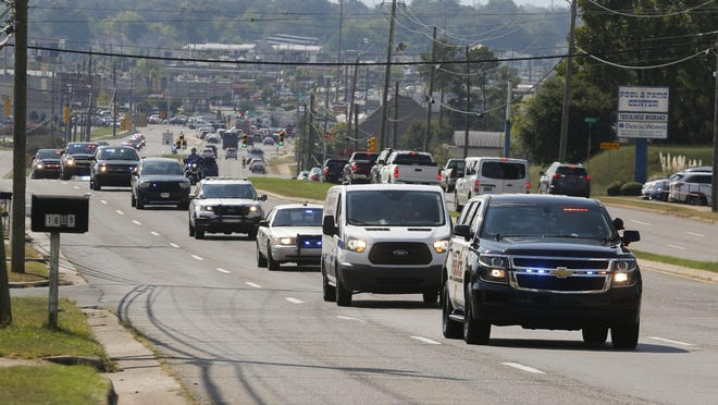 Police officers from Tuscaloosa, the Alabama Law Enforcement Agency, Tuscaloosa County Sheriff's Office and fire trucks from the Tuscaloosa Fire and Rescue Service escorted the body of Tuscaloosa Police Officer Dornell Cousette along Veterans Memorial Parkway to a funeral home in September 2019. While escorts continue for dignitaries, the University of Alabama football team and others as seen fit by city officials, the practice of escorting all funerals in Tuscaloosa ended in 2011. City officials are now being asked to reverse this policy.