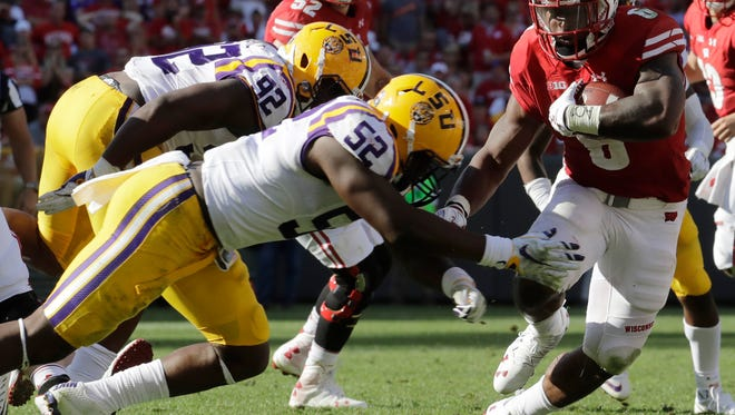Wisconsin's Corey Clement runs during the second half of an NCAA college football game against LSU Saturday, Sept. 3, 2016, in Green Bay, Wis. Wisconsin won 16-14. (AP Photo/Morry Gash)